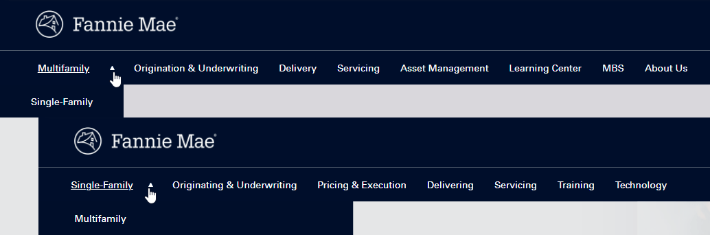 screenshot of website navigation menus